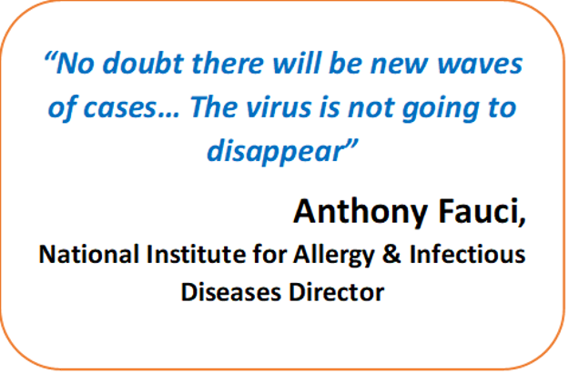 Dr. Fauci indicated there will be a new wave, the virus is not going away anytime soon